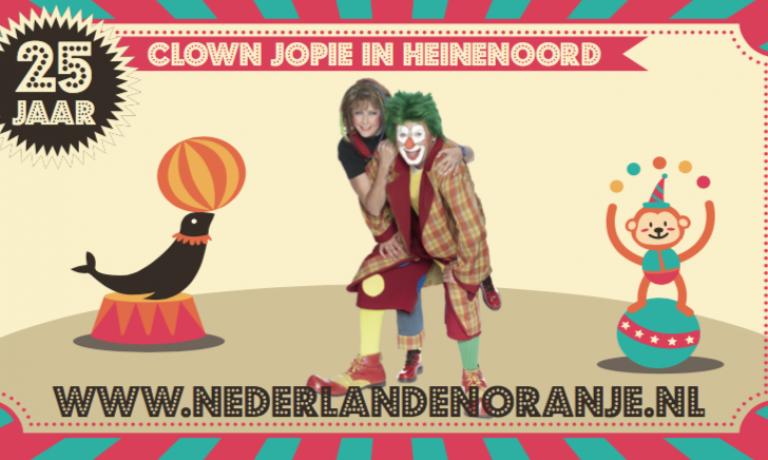 Clown Jopie is jarig, kom je ook op zijn verjaardag?
